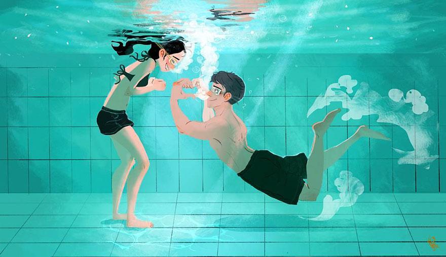 Корейский художник воплотил в иллюстрациях «то самое чувство, когда ты влюблен»