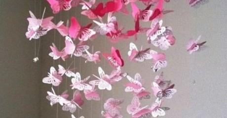 Бумажные бабочки для украшения интерьера