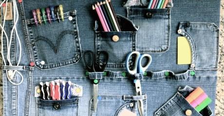 Берем старые, никому не нужные джинсы и делаем из них полезную вещь