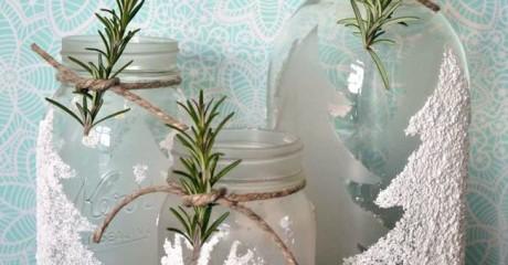 Как из обычной банки сделать красивую новогоднюю вазу для веточек?